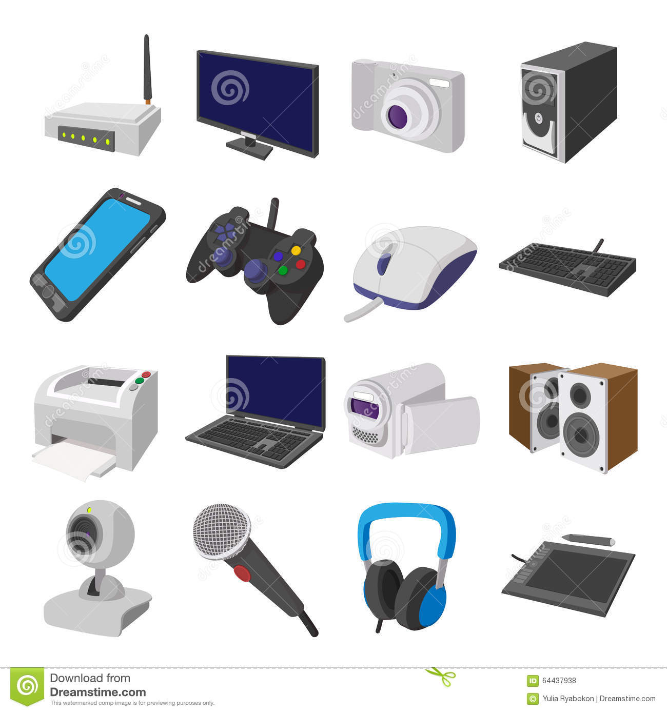 Technology And Devices Cartoon Icons Set Stock Vector