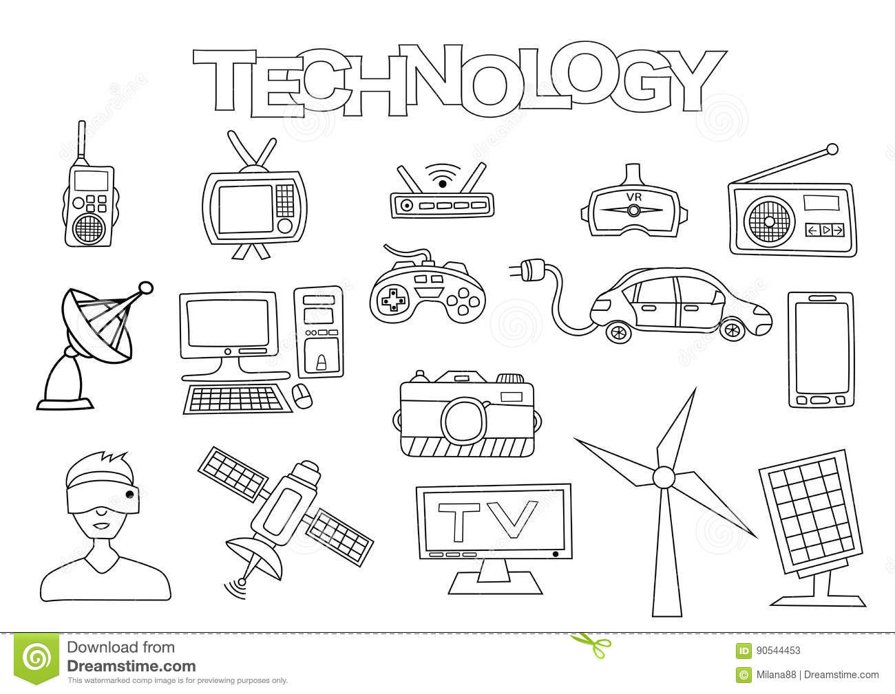 Technology Elements Hand Drawn Set. Coloring Book Template
