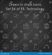 Technology Icon Set Drawn In Chalk Stock