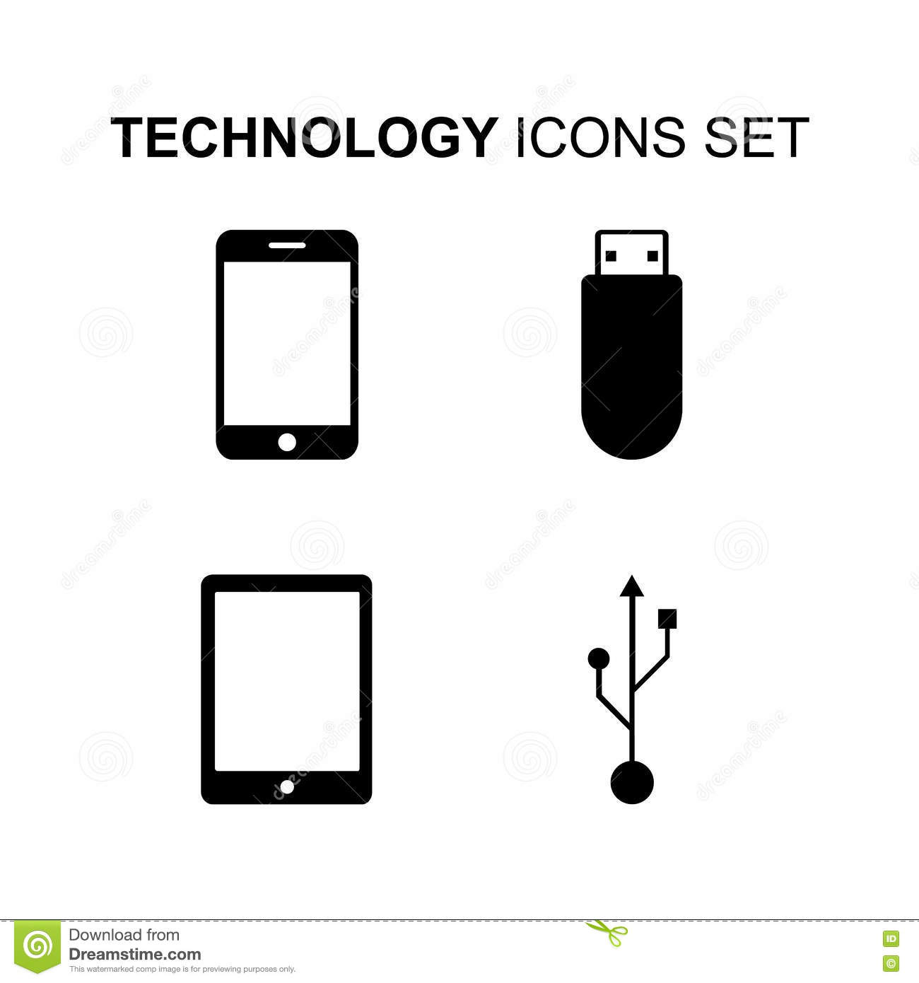 Technology Icons Set. Computer Silhouette Symbols. Vector