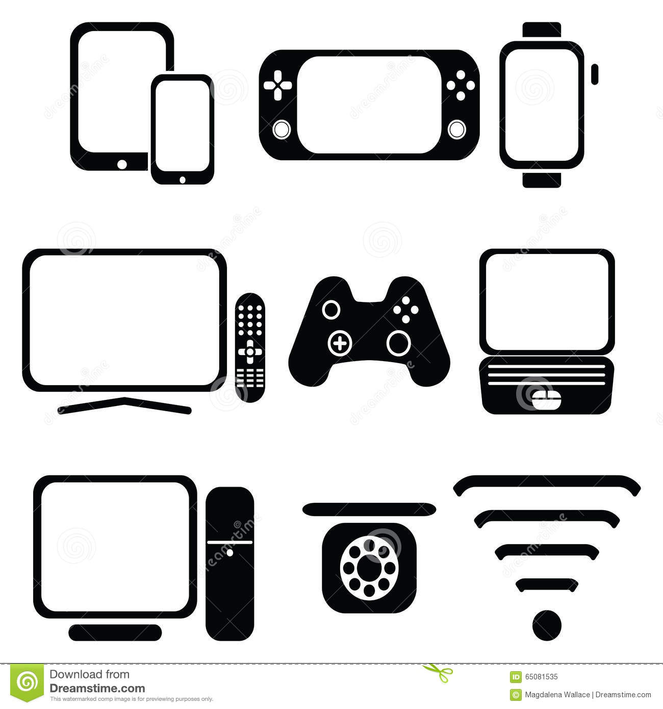 Technology Icons Set With Tablet, Mobile Phone, Smart
