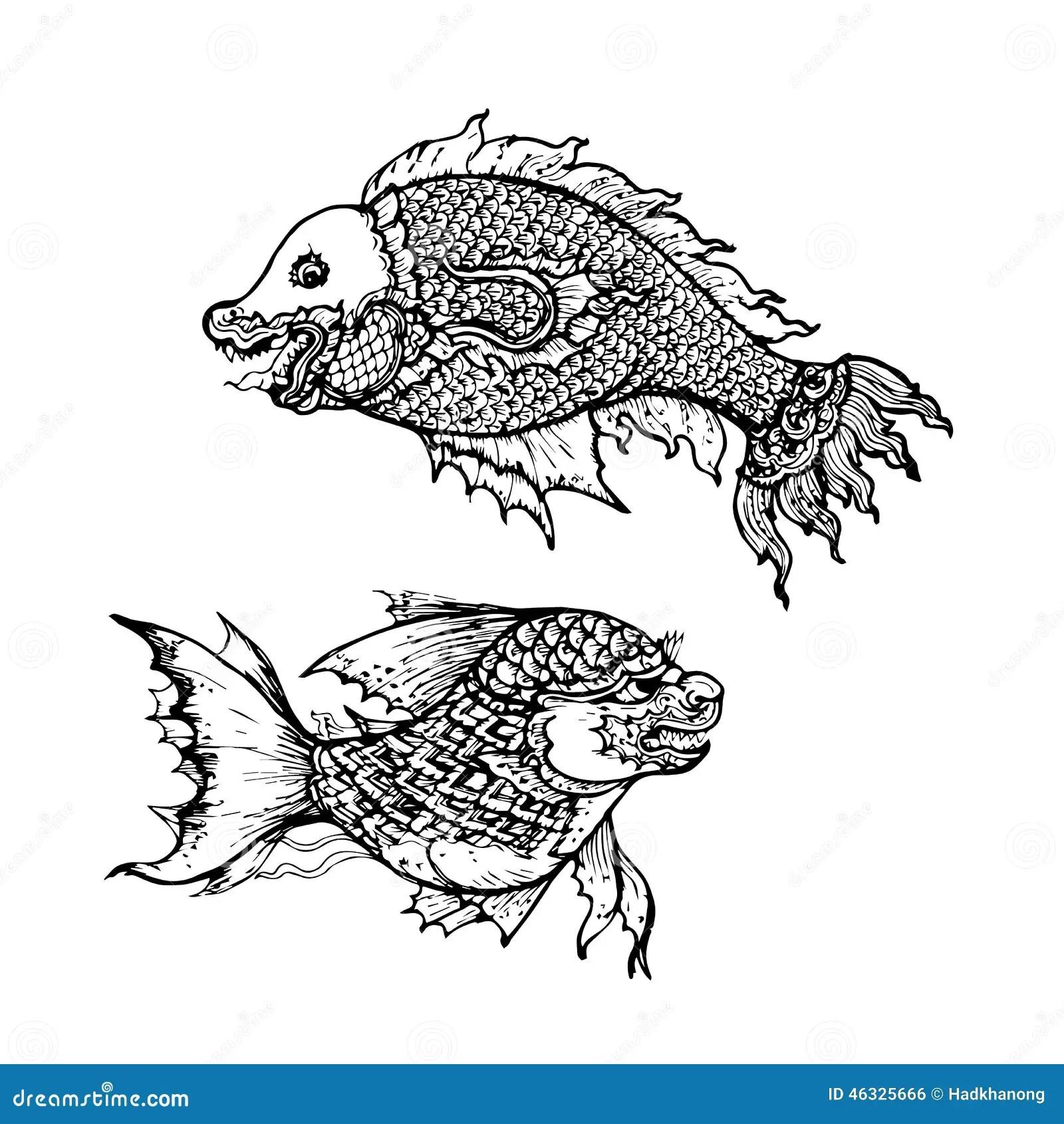 Teckning Av Fisken Thai Traditionell Konst Vektor