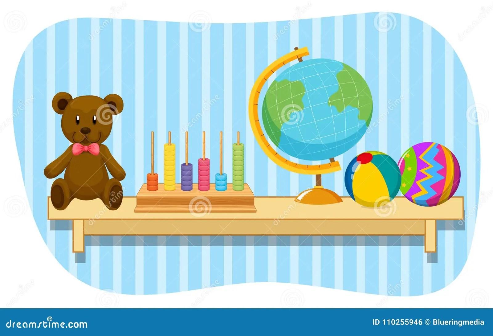 Teddy Bear And Globe On Wooden Shelf Stock Vector