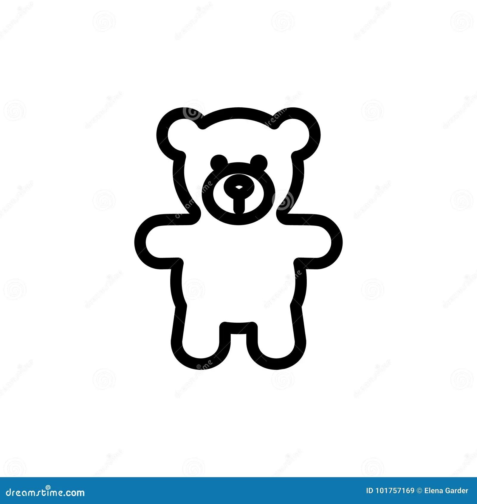 Teddy Bear Plush Thin Line Icon. Outline Symbol Baby Soft