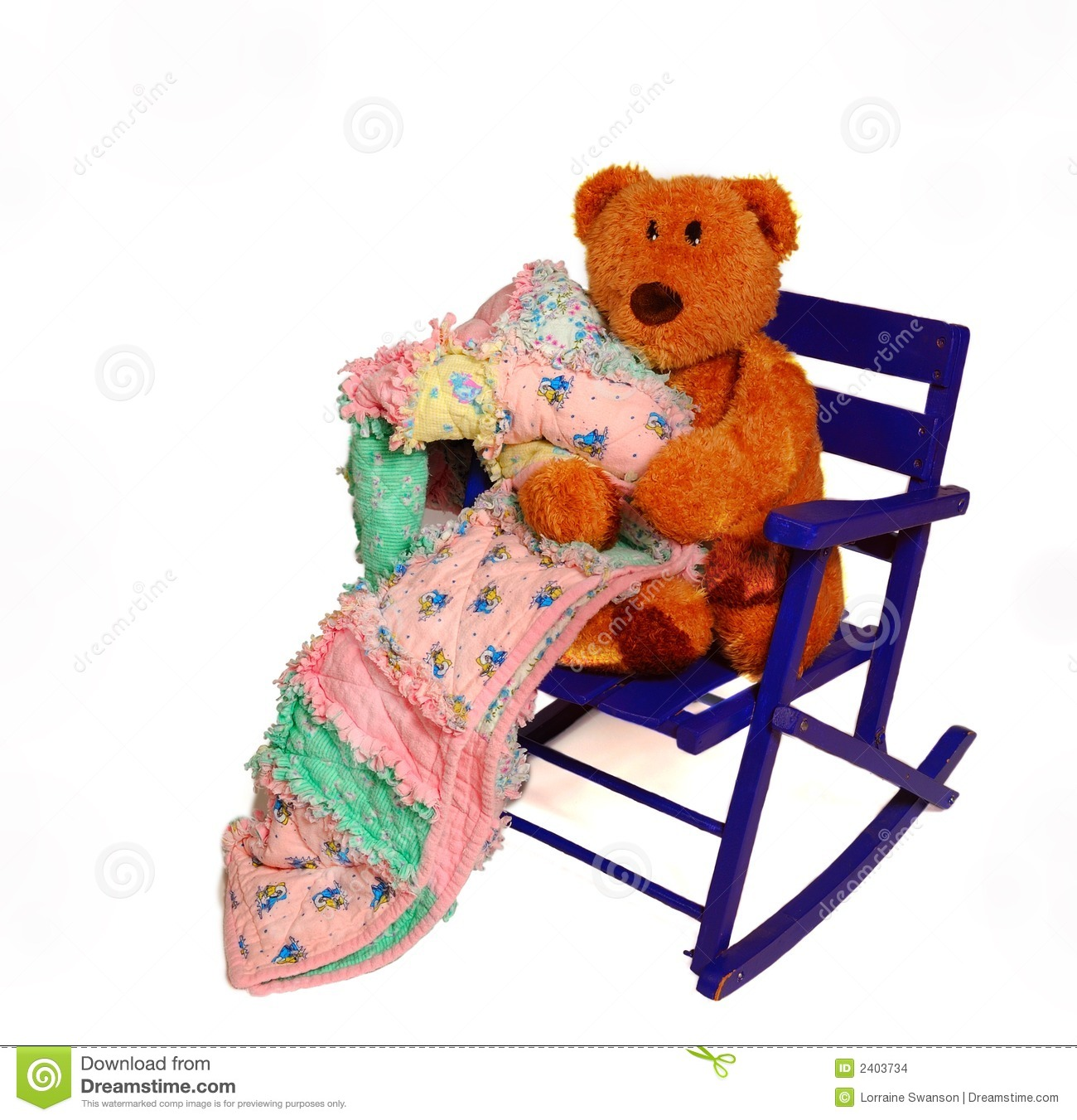 Teddy Bear And Rocking Chair Stock Photo  Image 2403734