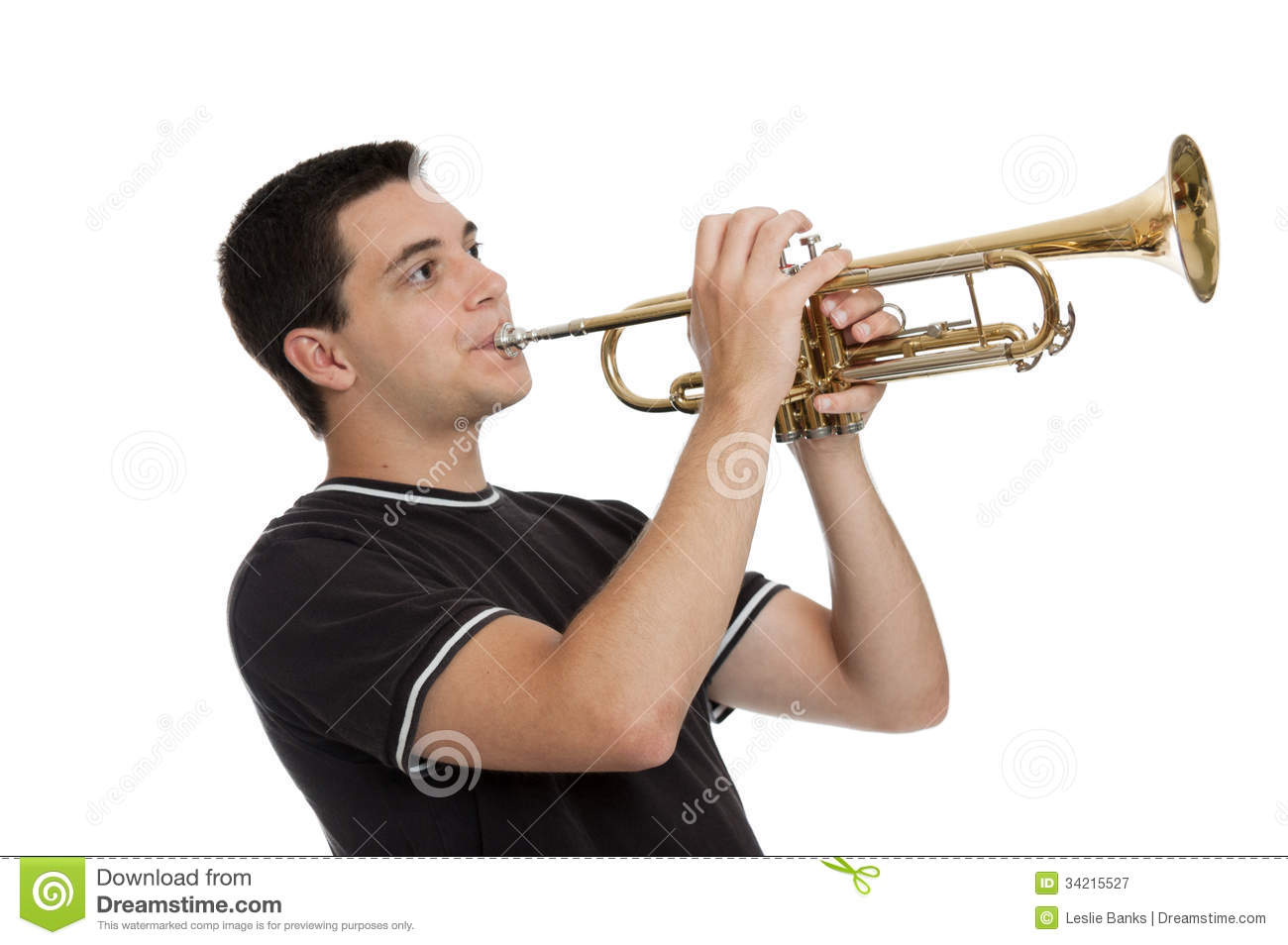 Teen Boy Playing Trumpet Royalty Free Stock Photography