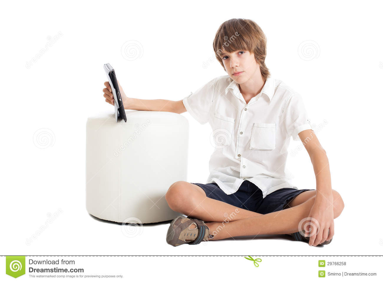 Teen boy with a tablet PC stock photo Image of student