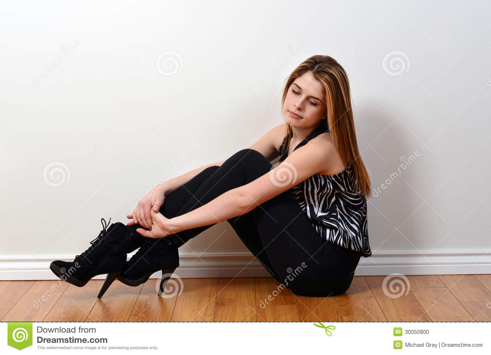Teen Fashion Model Sitting Stock Photo  Image 30050800