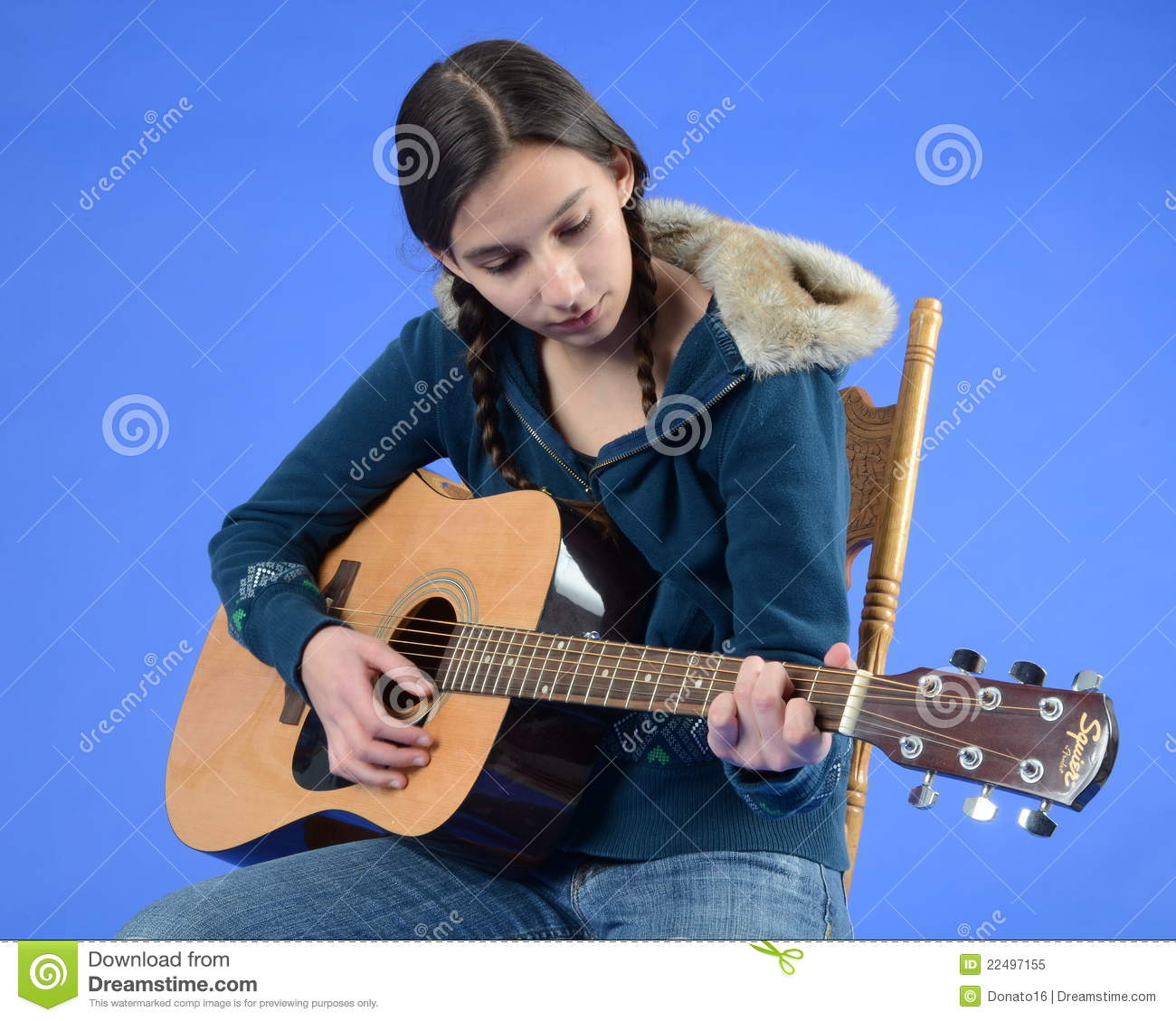 guitar playing chair victorian velvet teen girl in royalty free stock photo