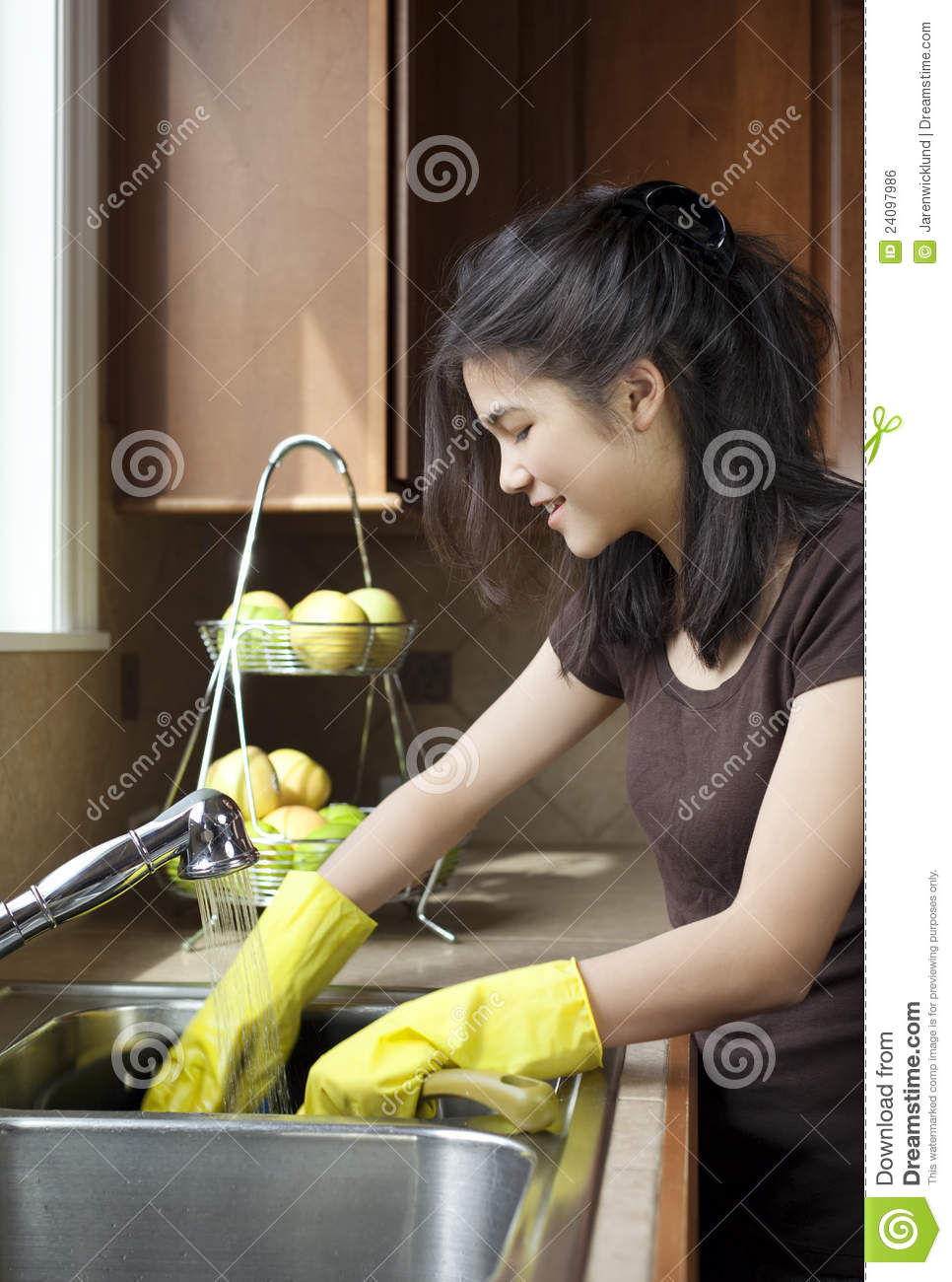 Teen Girl Washing Dishes At Kitchen Sink Stock Photo  Image of thai pretty 24097986