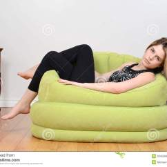 Girls Bean Bag Chairs Rent Throne Teen Relaxing In Green Chair Stock Image
