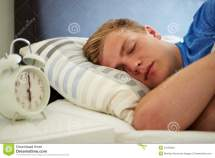 Teenage Boy Sleeping Alarm Stock