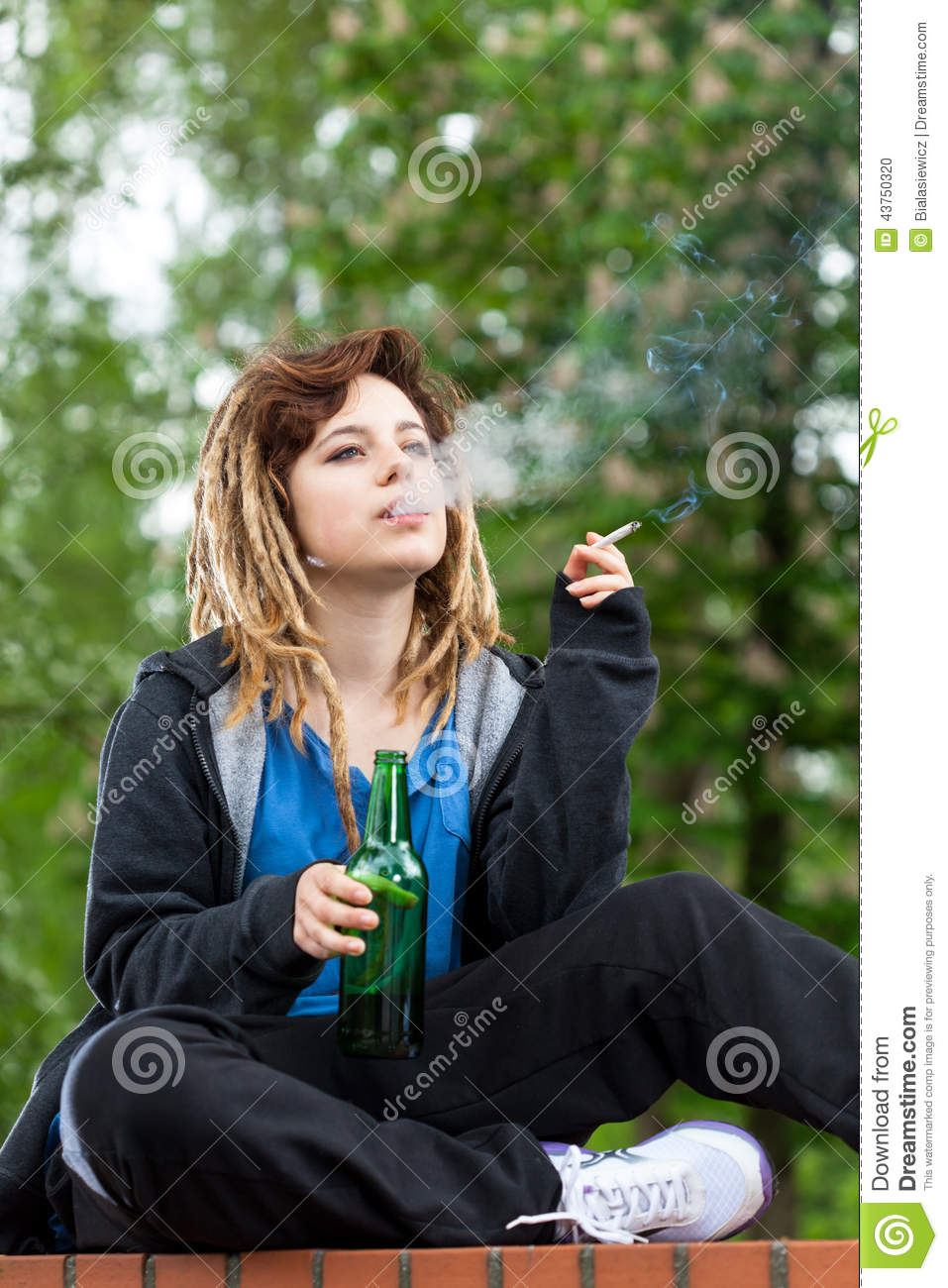 Girl Drinking Alcohol Wallpaper Teenage Girl Drinking Beer And Smoking Cigarette Stock