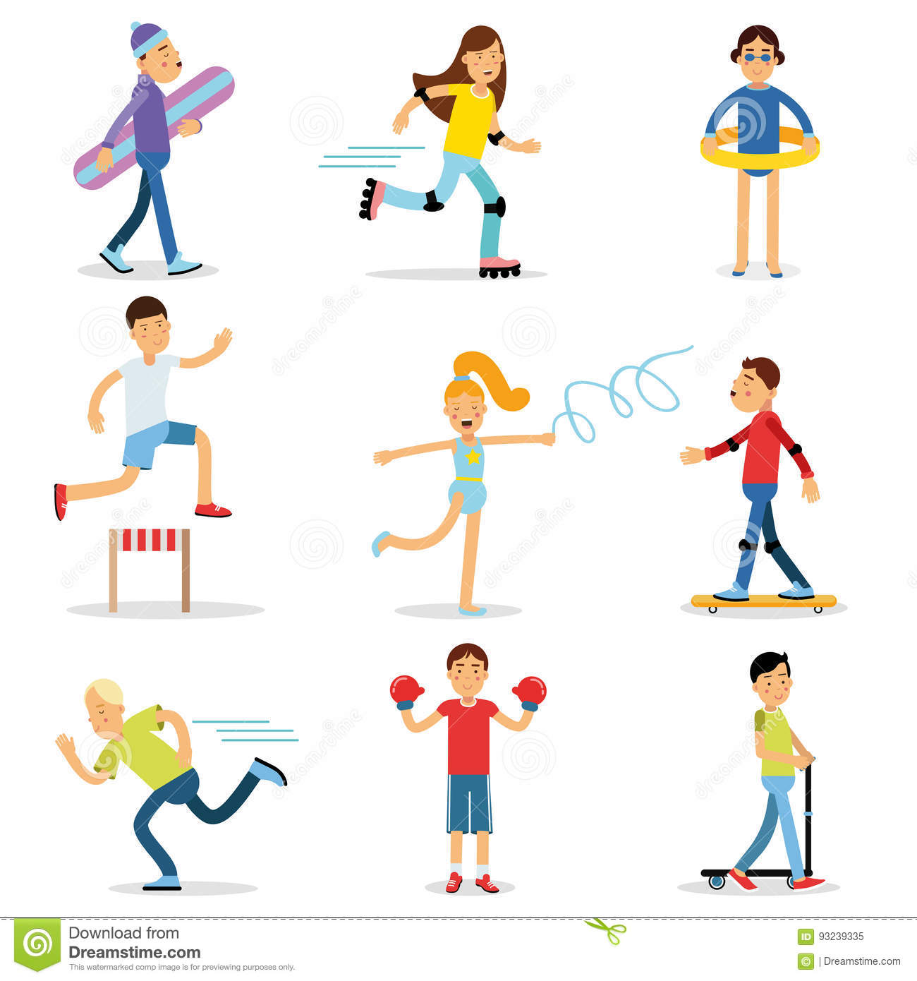 Teenagers Children Playing Sports Set Children Physical