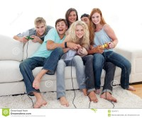 Teenagers Playing Video Games At Home Stock Image - Image ...