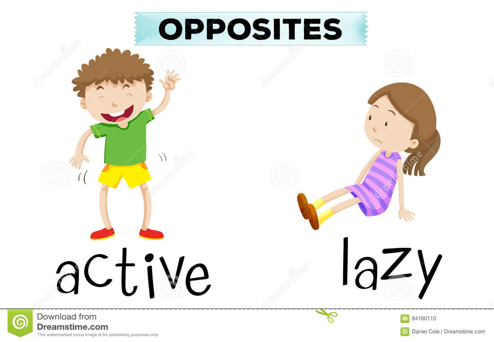 Tegenovergestelde Woorden Voor Actief En Lui Vector