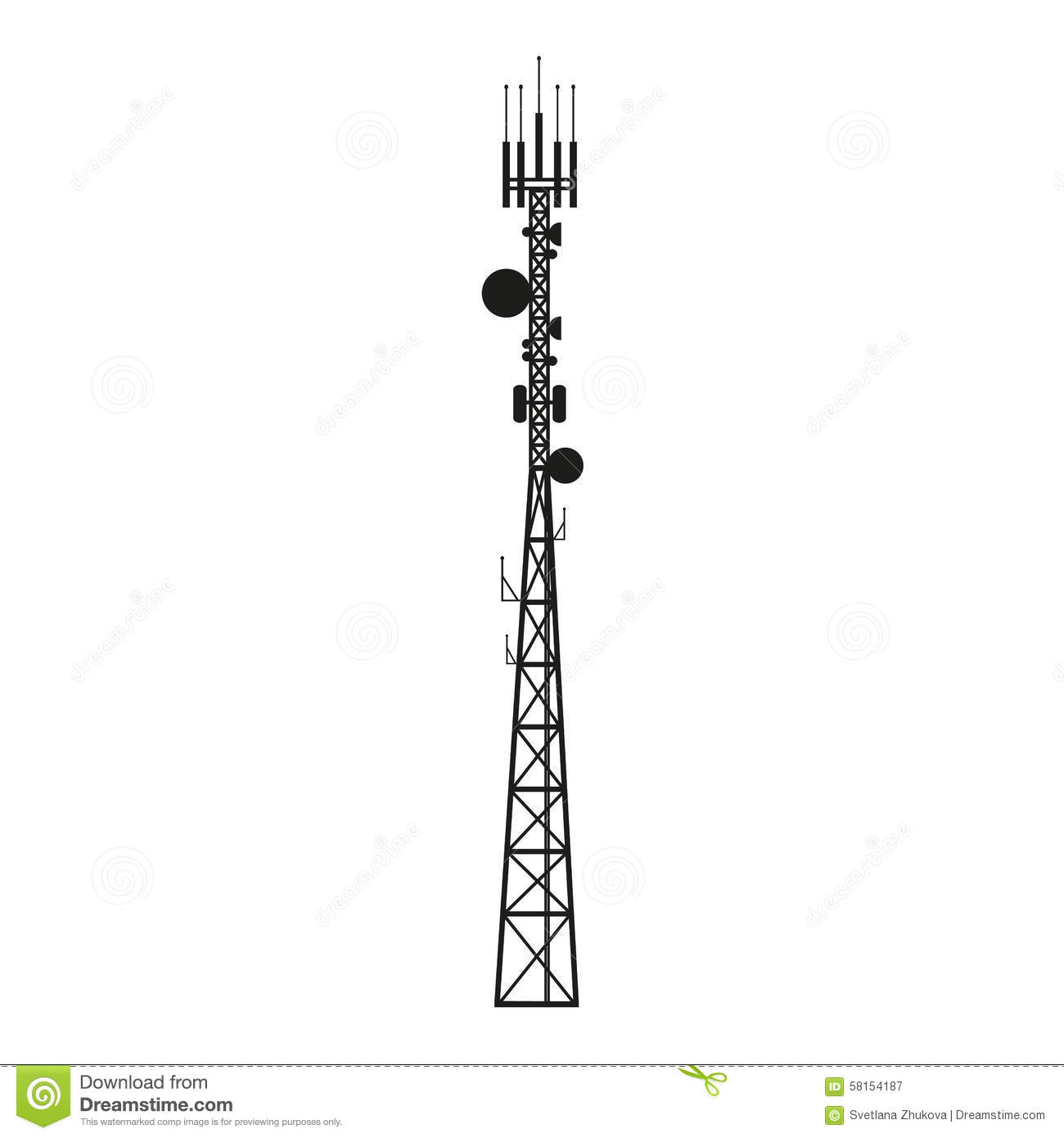 cellular phone tower signal diagram clipsal 3 phase 5 pin plug wiring australia telecommunication antenna mast or mobile stock