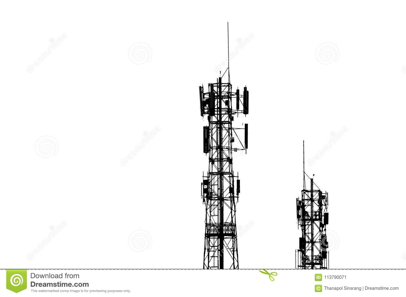 Telecommunication Tower Cell Phone Signal Tower Stock