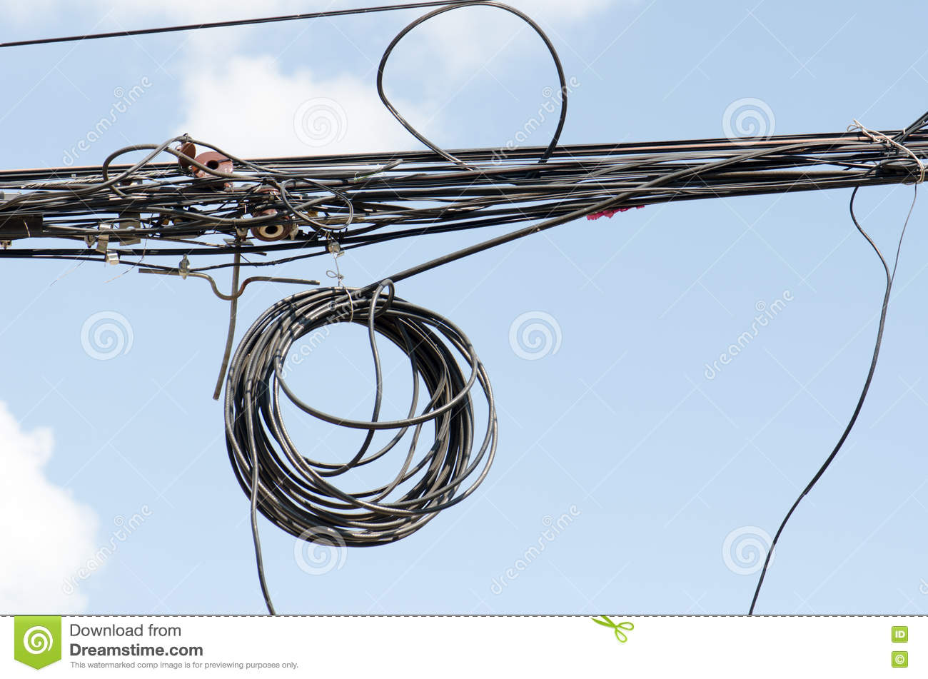 hight resolution of messy electrical cables dial wires tangled in thailand