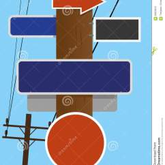Telephone Pole Diagram Wiring For Fan Relay Signs Stock Vector Illustration Of Round 63956913 Old Style Overhead Lines With Blank Street And Road Traffic Copy Space Available Text