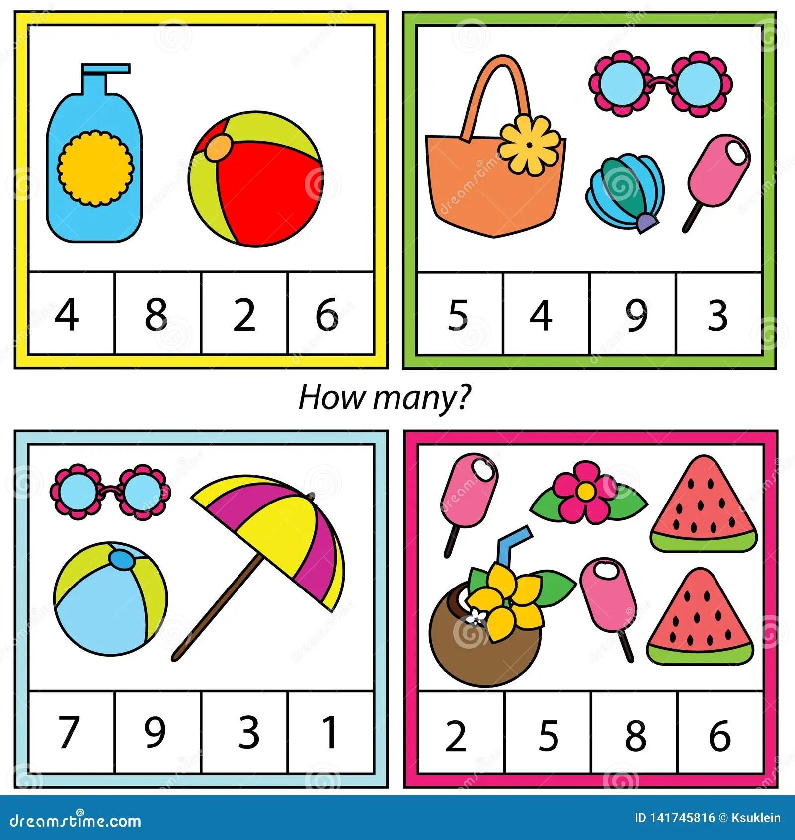 Tellend Onderwijskinderenspel Hoeveel Objecten Taak Het