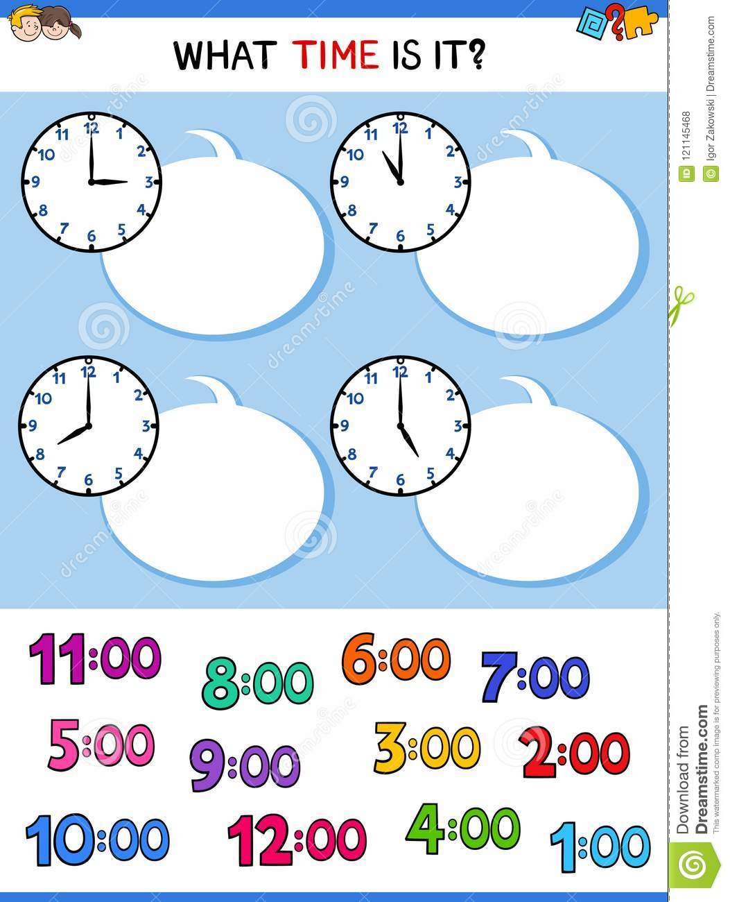 Telling Time Clock Face Cartoon Game Stock Vector