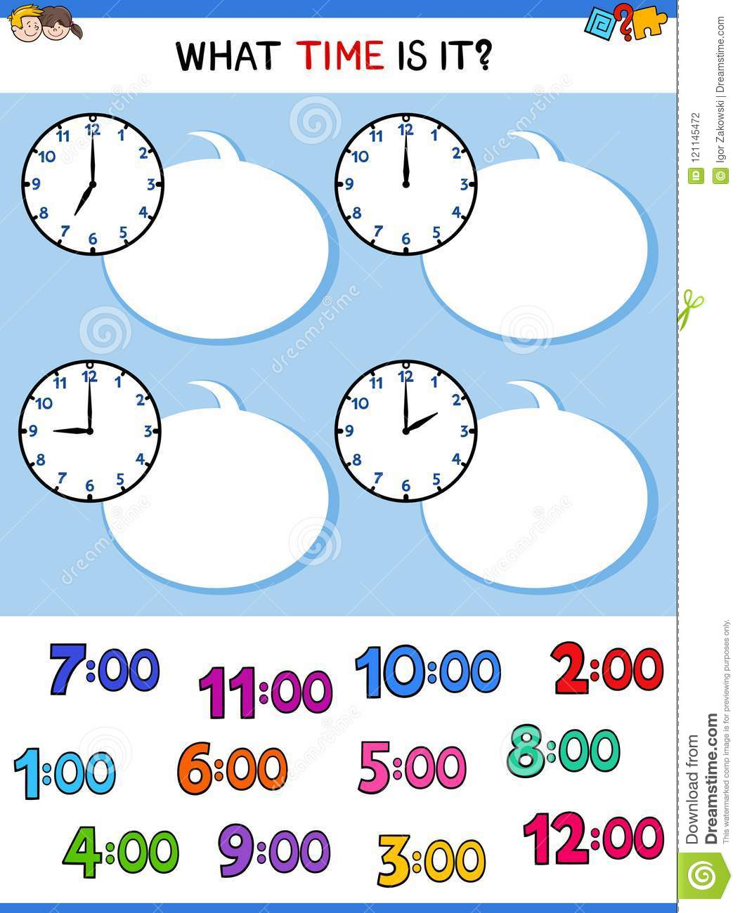 Telling Time Clock Face Educational Game Stock Vector