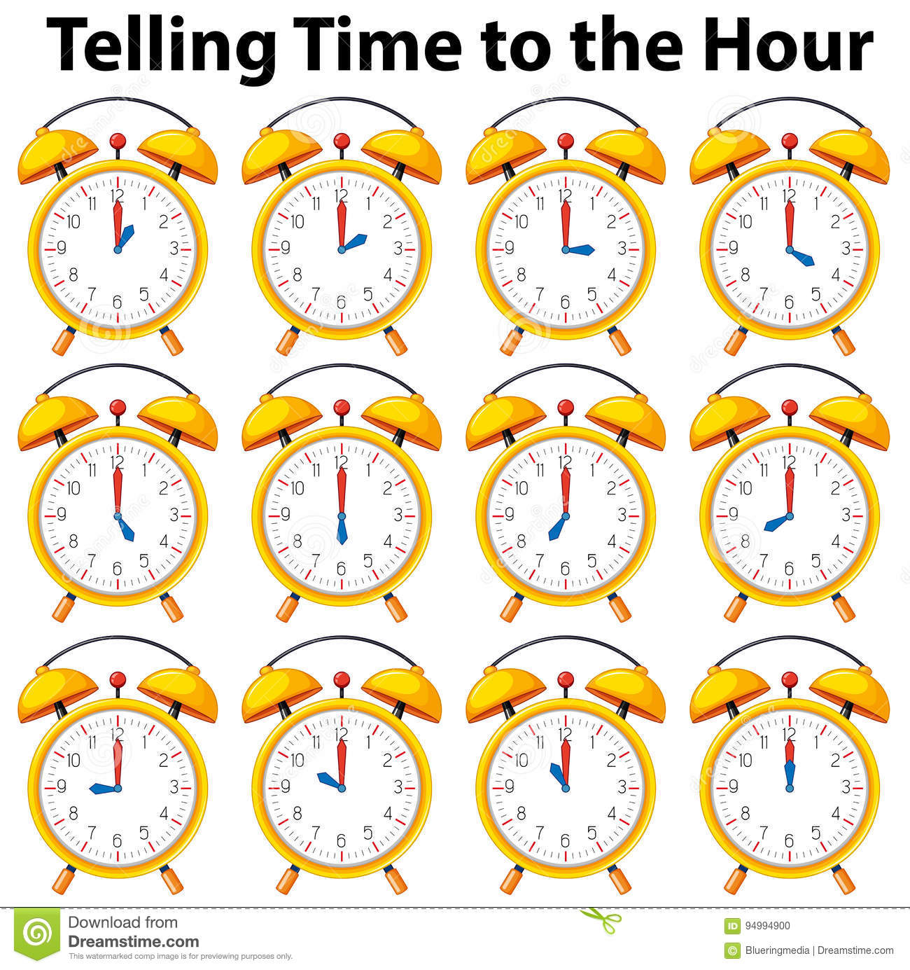 Telling Time To The Hour On Yellow Clock Stock Vector