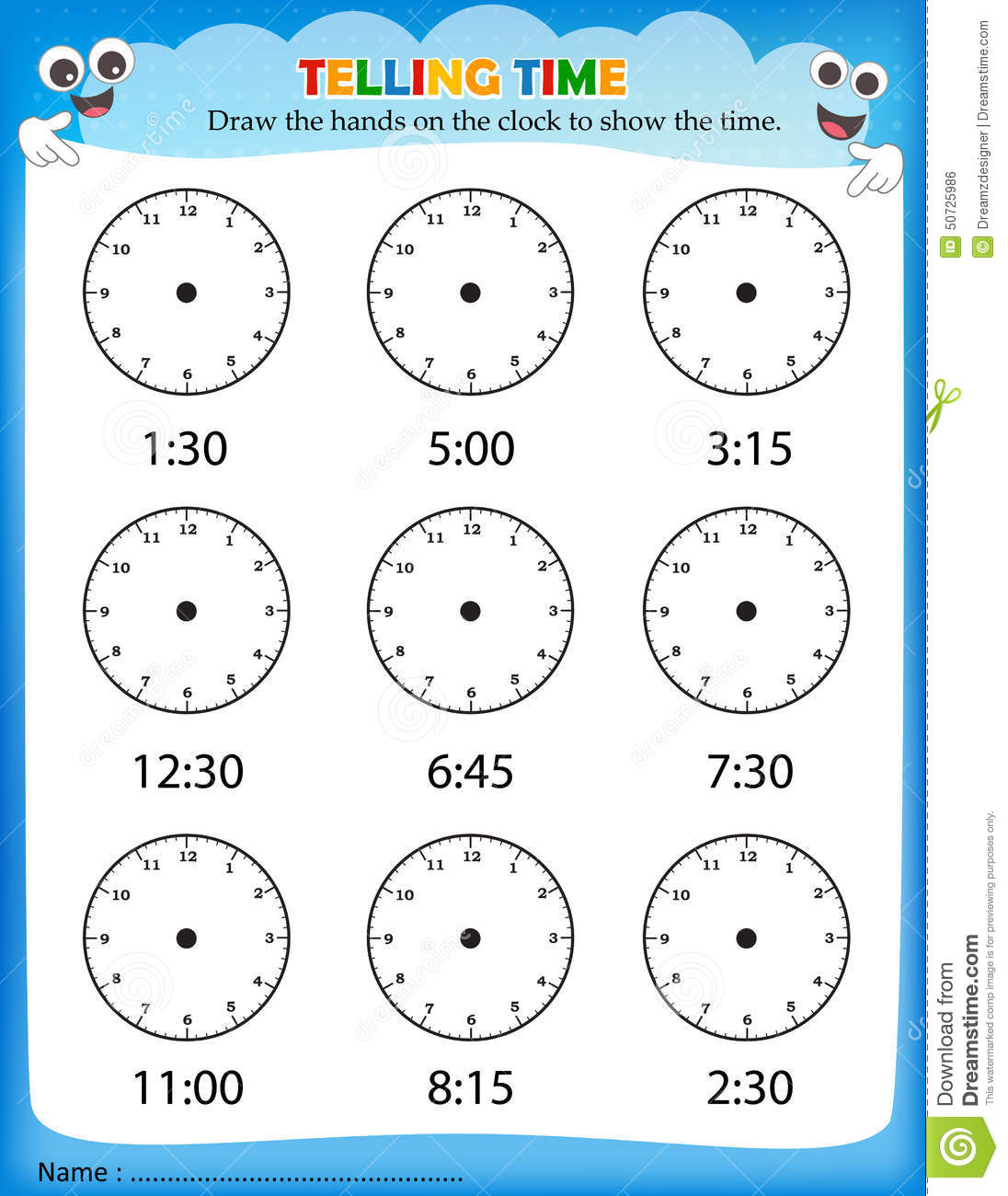 Telling Time Worksheet Stock Vector Image Of Preschool