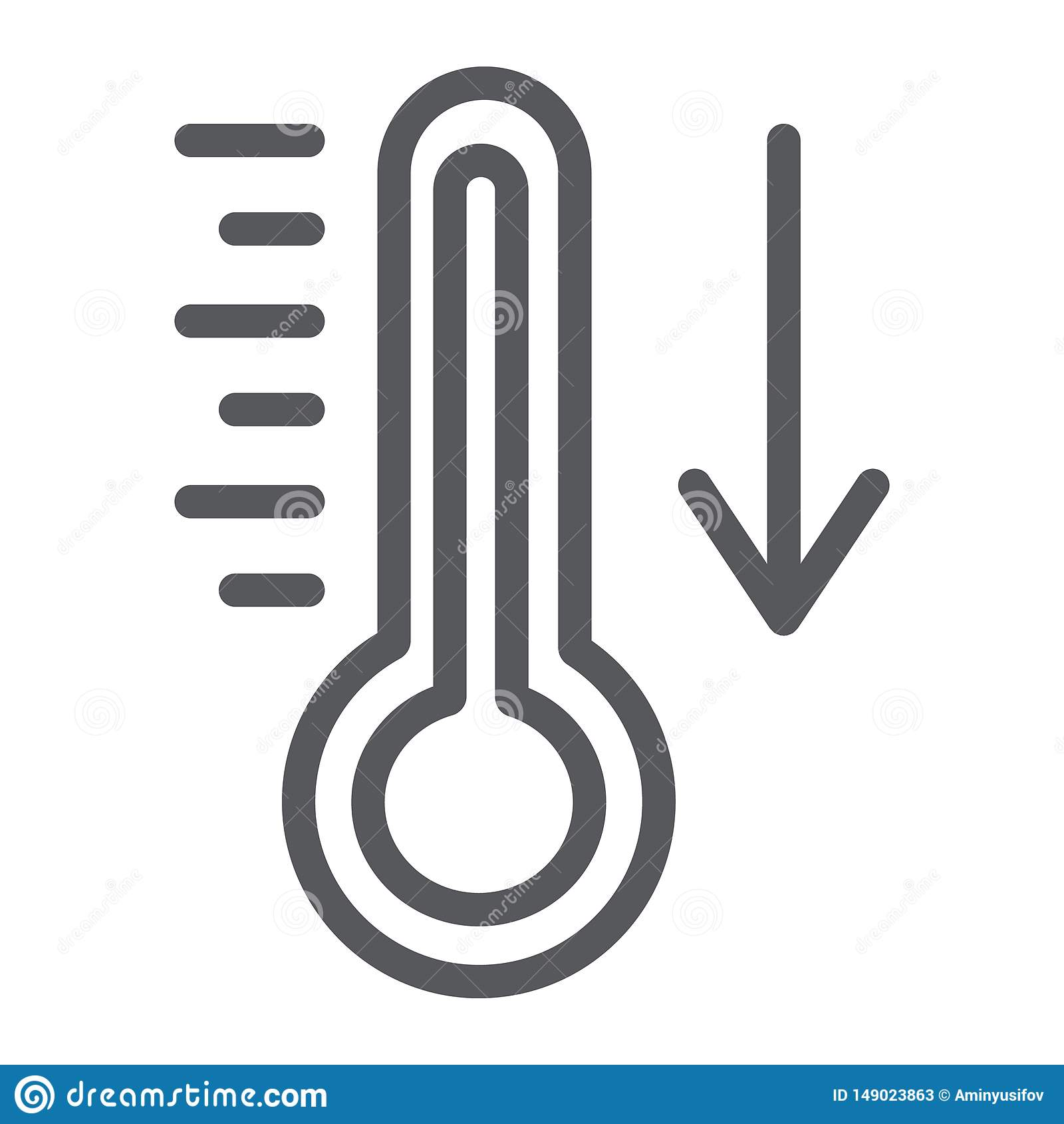 Temperature Falling Line Icon Thermometer And Forecast