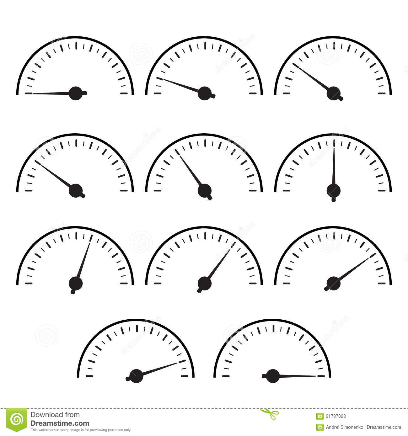 Temperature Gauge Set Used In Cooking Grill Stock Vector