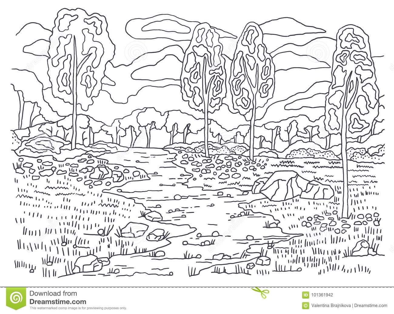 Template For Coloring Autumn Coloring Landscape Painting