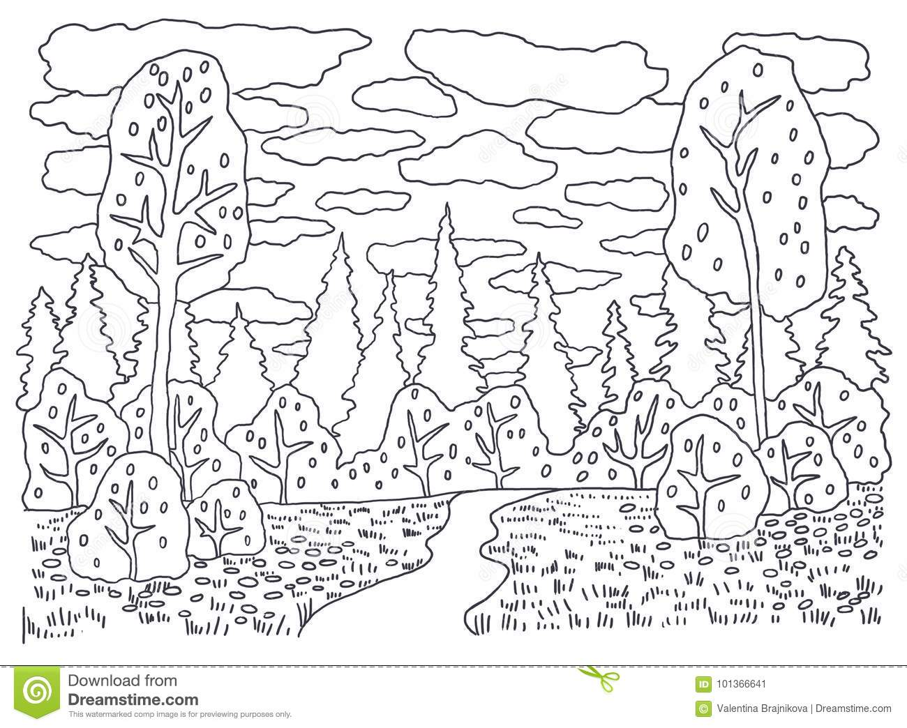 Template For Coloring. Coloring Picture Landscape With