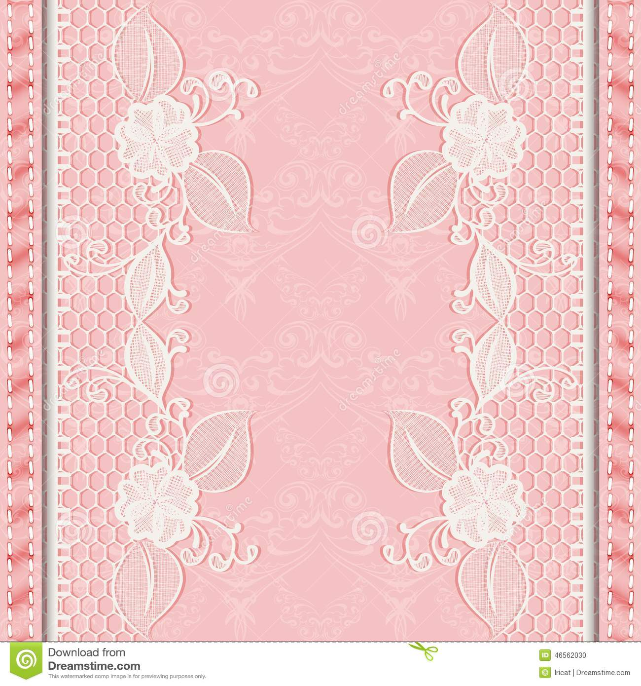 Template Greeting Or Invitation Card With Lace Fabric