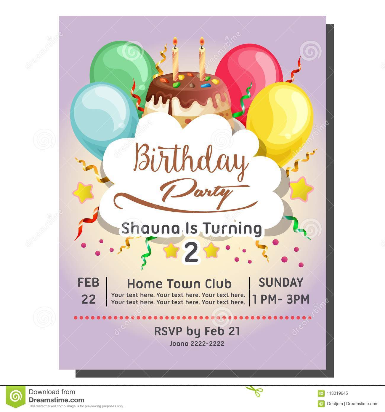 https www dreamstime com template nd birthday party invitation card balloon topping tart nd birthday party invitation card balloon image113019645