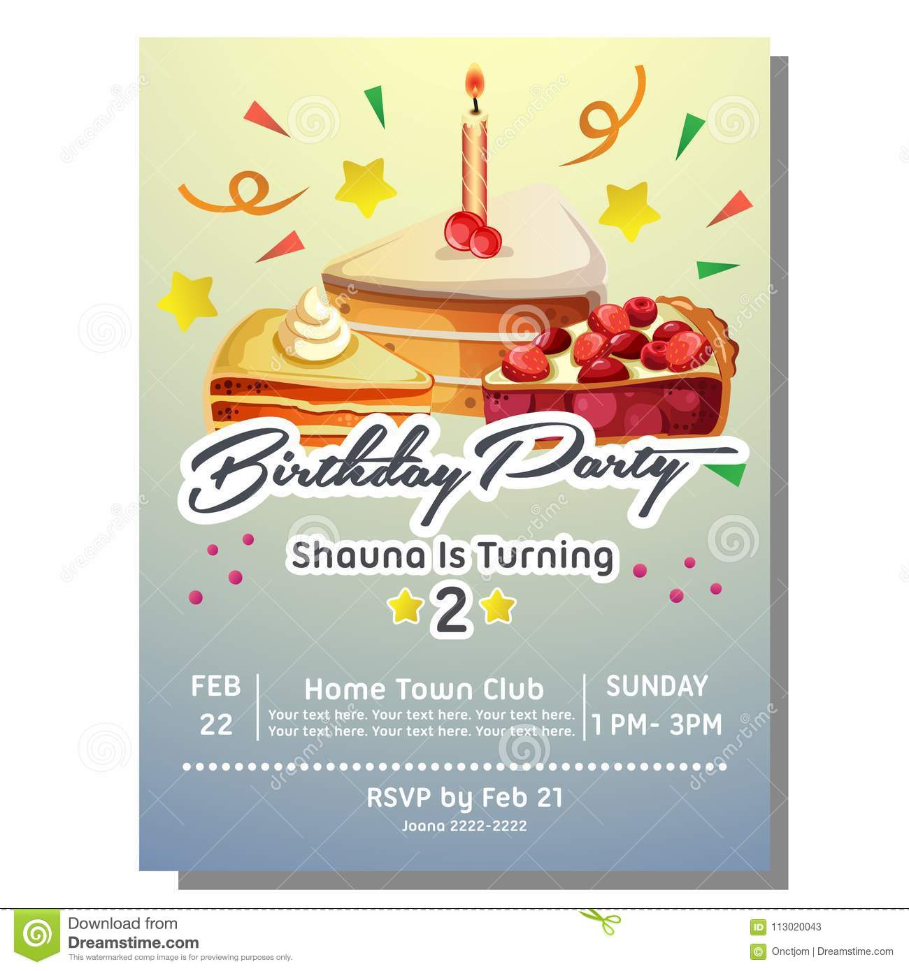 https www dreamstime com template nd birthday party invitation card slice cake nd birthday party invitation card slice cake image113020043
