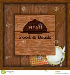 Menu On The Background Of Wooden Board Stock Vector Illustration of panel message: 106543869