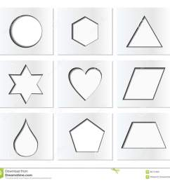 template for simple geometric shapes with inner shadow circle hexagon triangle star [ 1300 x 1253 Pixel ]