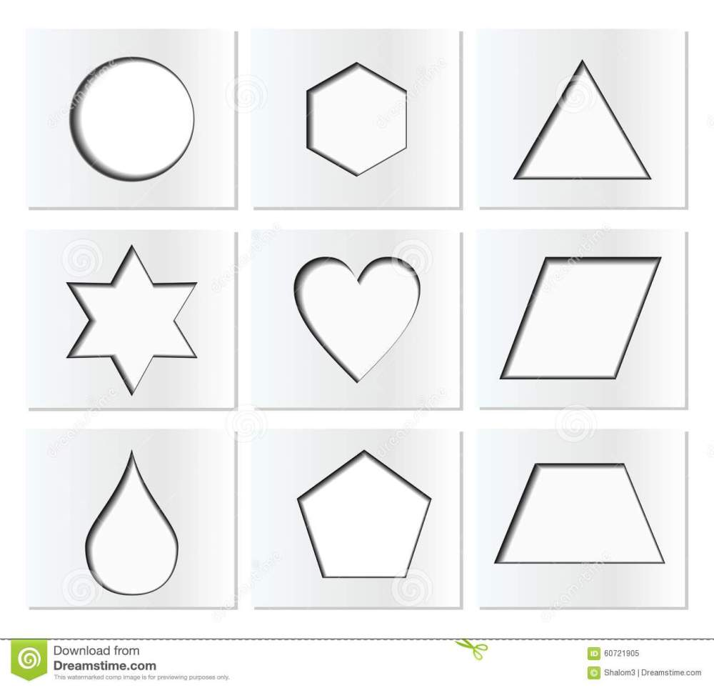 medium resolution of template for simple geometric shapes with inner shadow circle hexagon triangle star