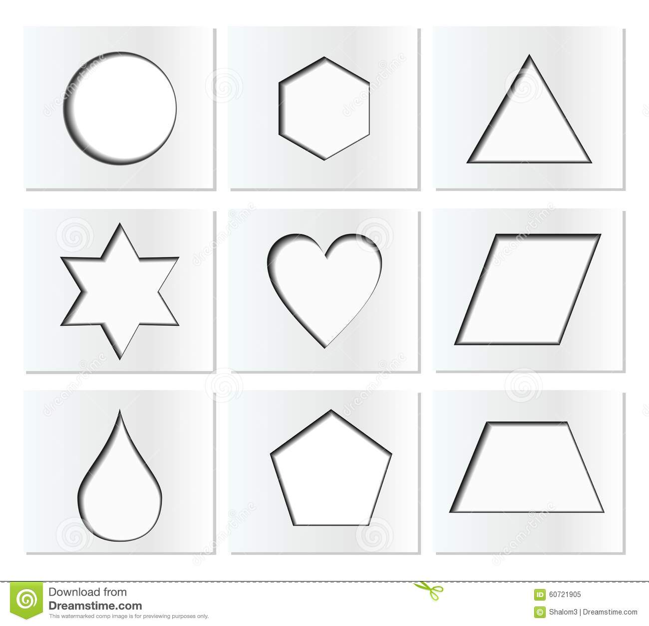 hight resolution of template for simple geometric shapes with inner shadow circle hexagon triangle star