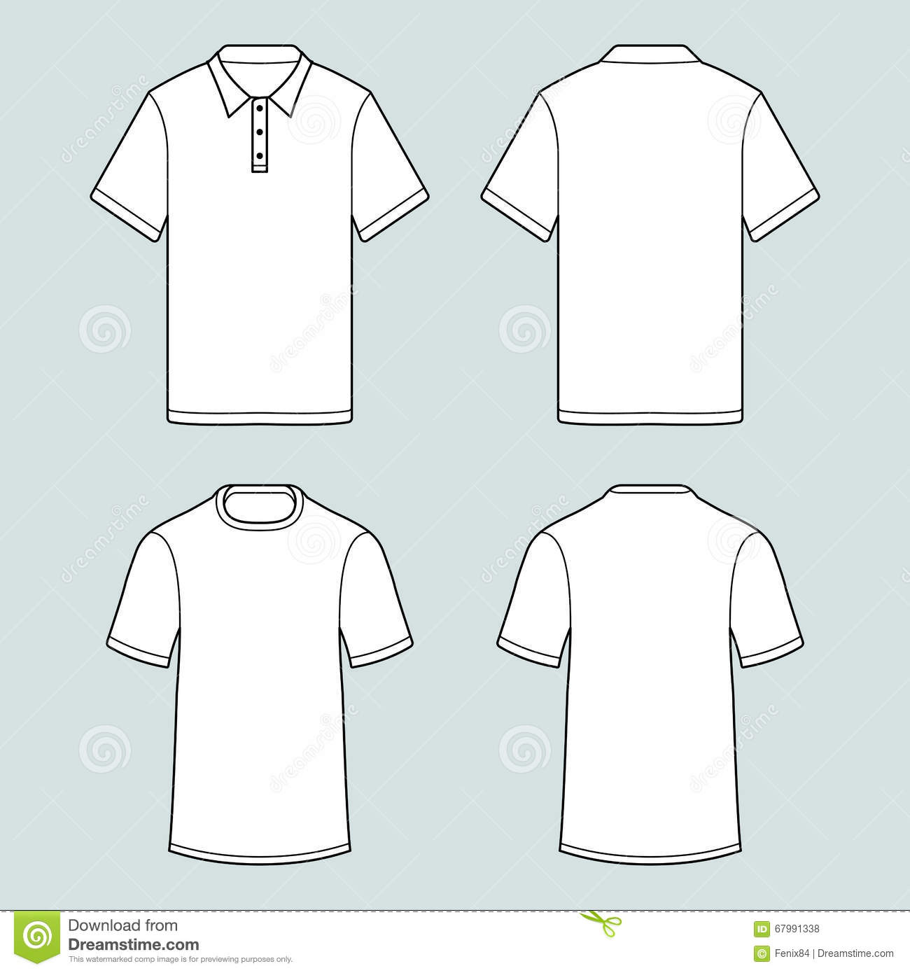 Men S White Short Sleeve Polo Shirt Vector Illustration