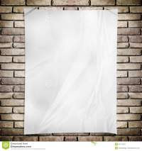 Template- White Crumpled Rectangle Poster On Grunge Brick ...