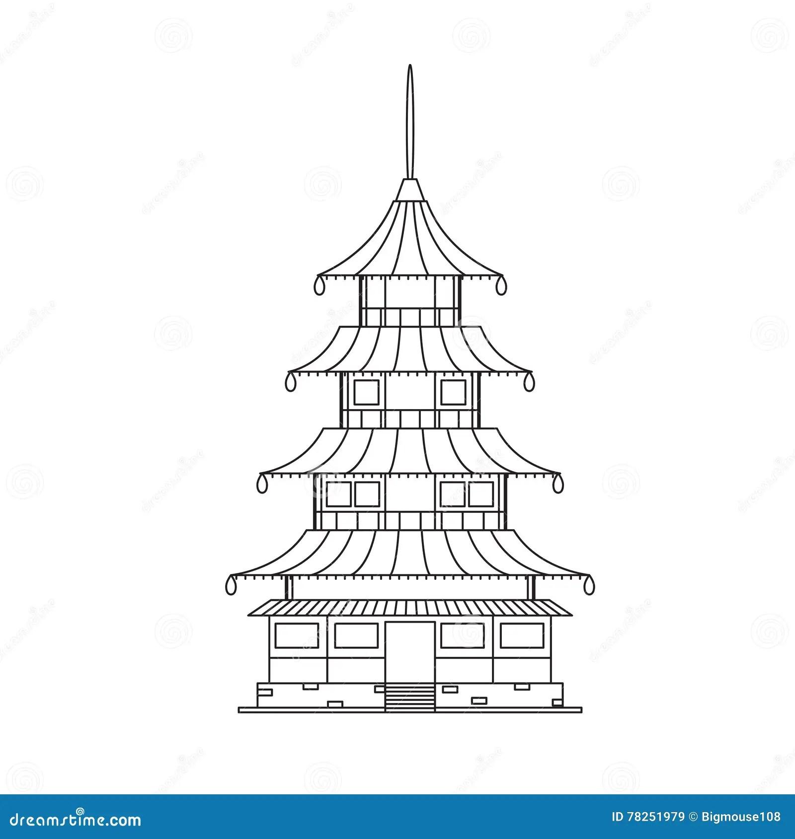 Temple Bouddhiste Chinois, Bâtiment De Monastère Vecteur