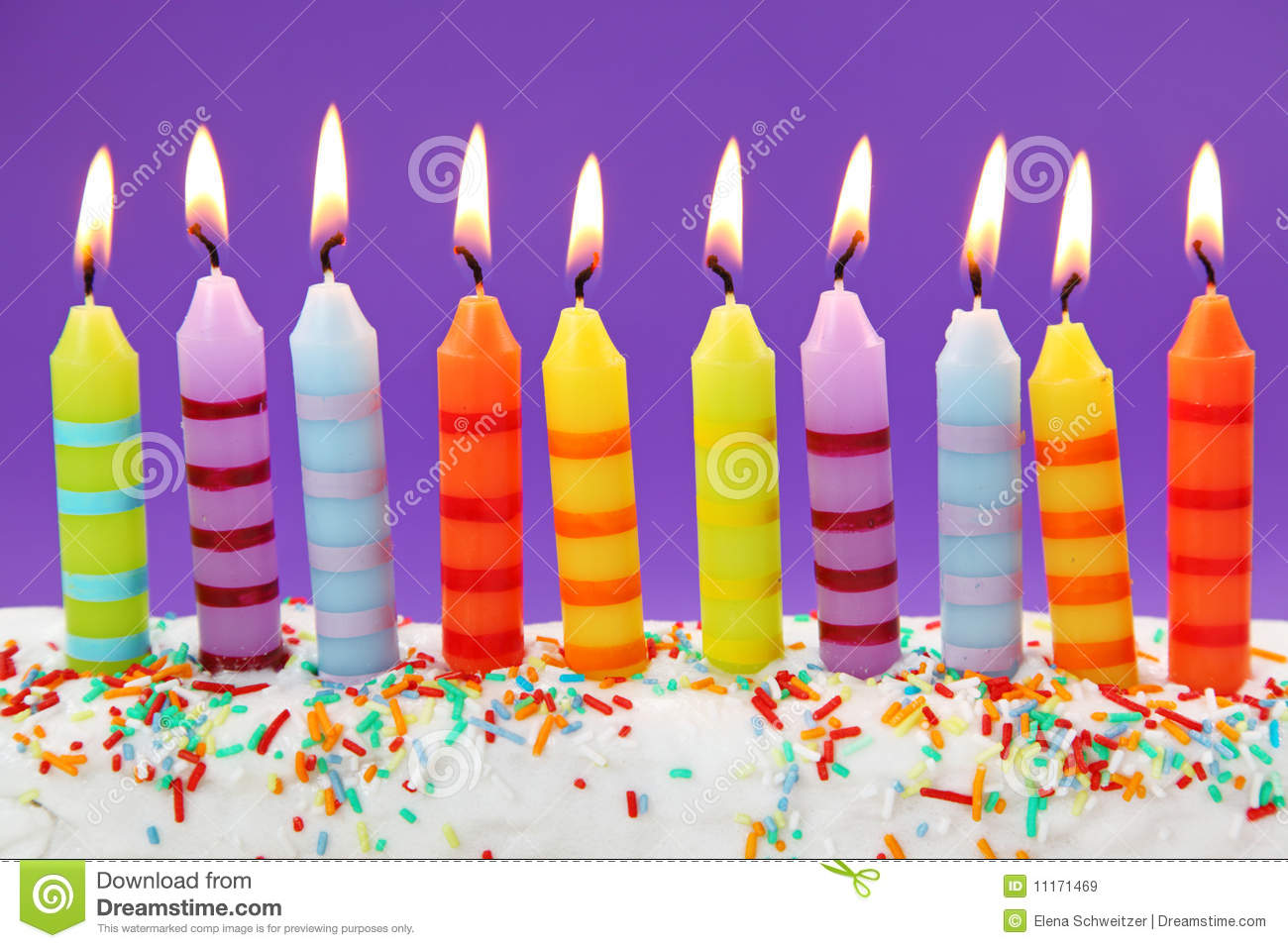 Ten Birthday Candles Stock Image Image Of Confetti Color