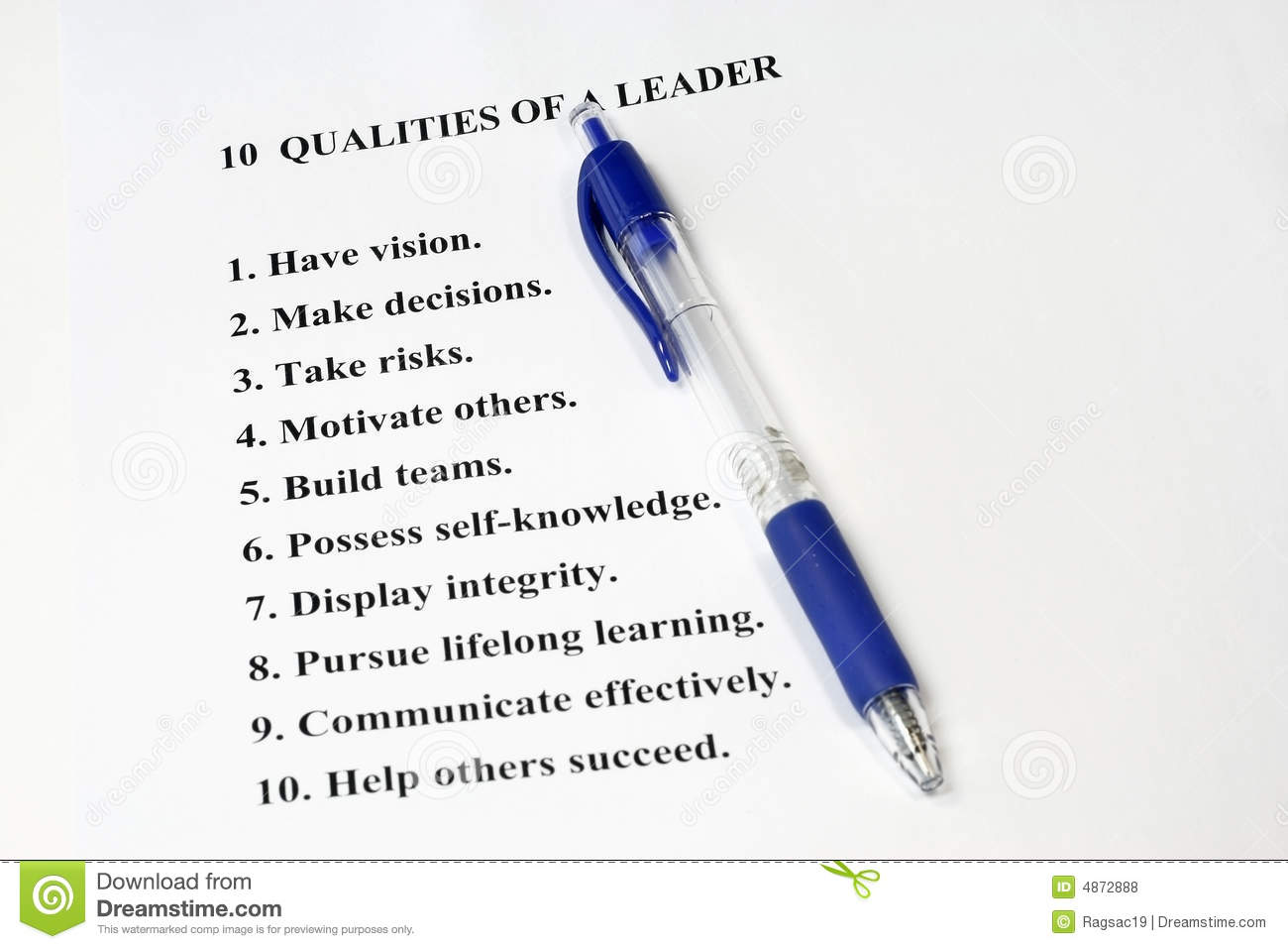Ten Qualities of a Leader stock photo Image of entrepreneur  4872888