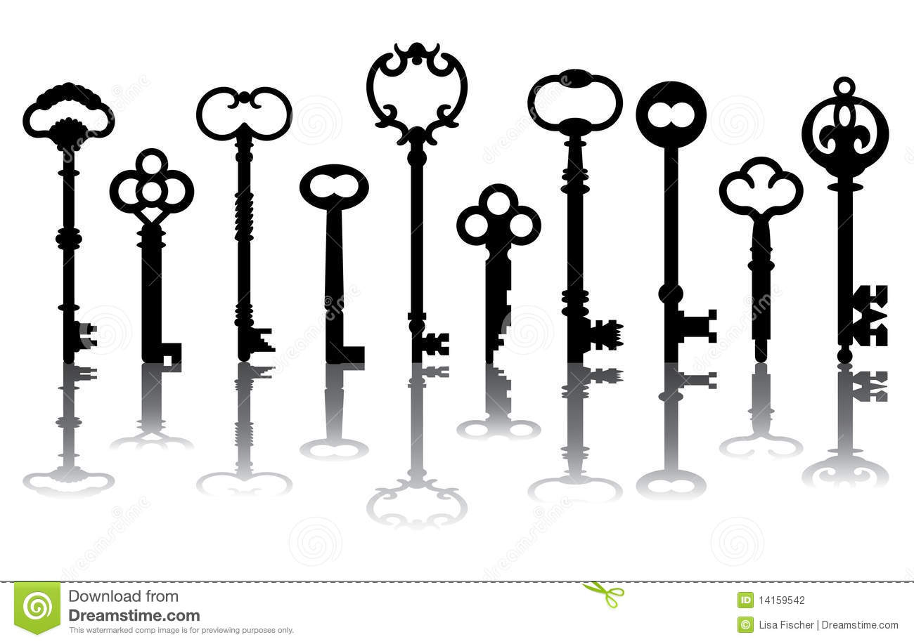 Ten Skeleton Key Icons Stock Vector Illustration Of House