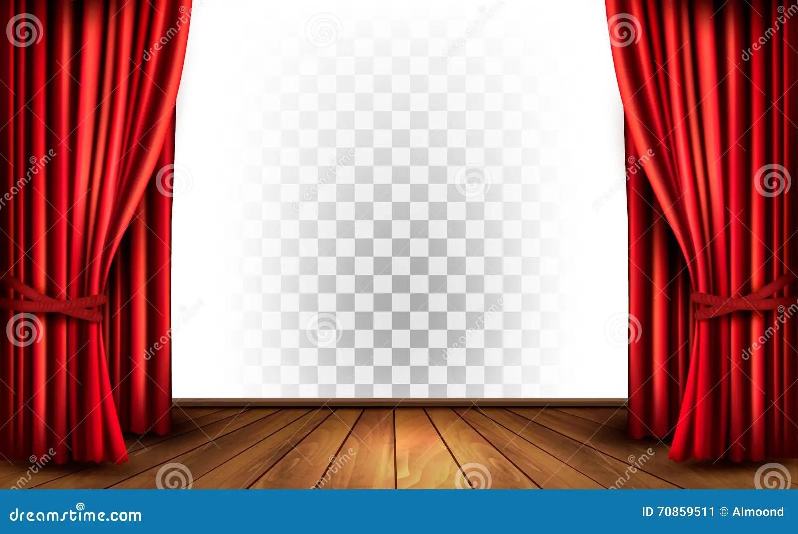 Tende Del Teatro Con Un Fondo Trasparente Illustrazione
