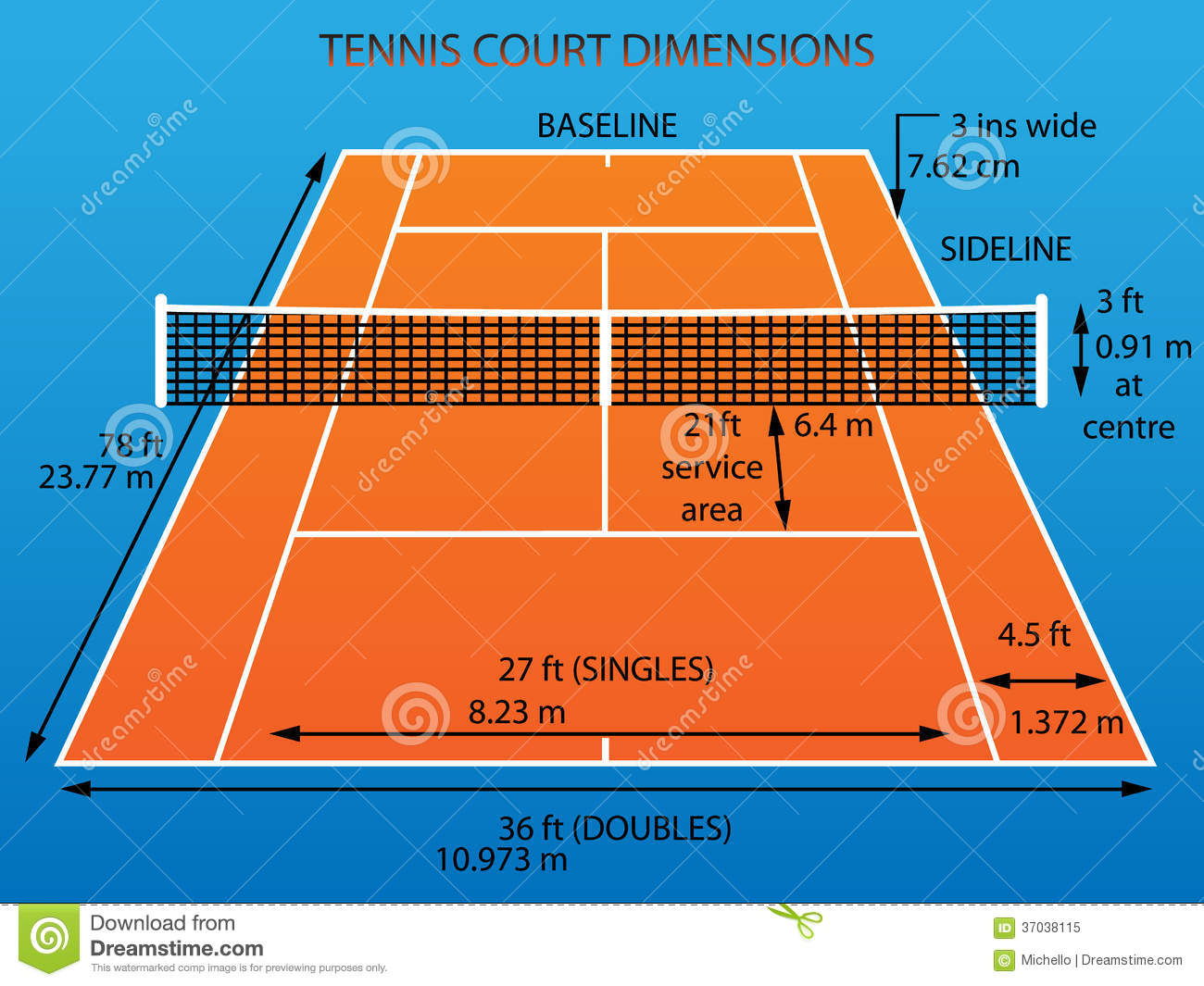measurement of tennis court with diagram ford focus wiring 2016 dimensions stock vector illustration