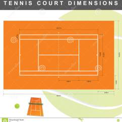 Measurement Of Tennis Court With Diagram Example Fire Exit Dimensions Illustration Stock Vector
