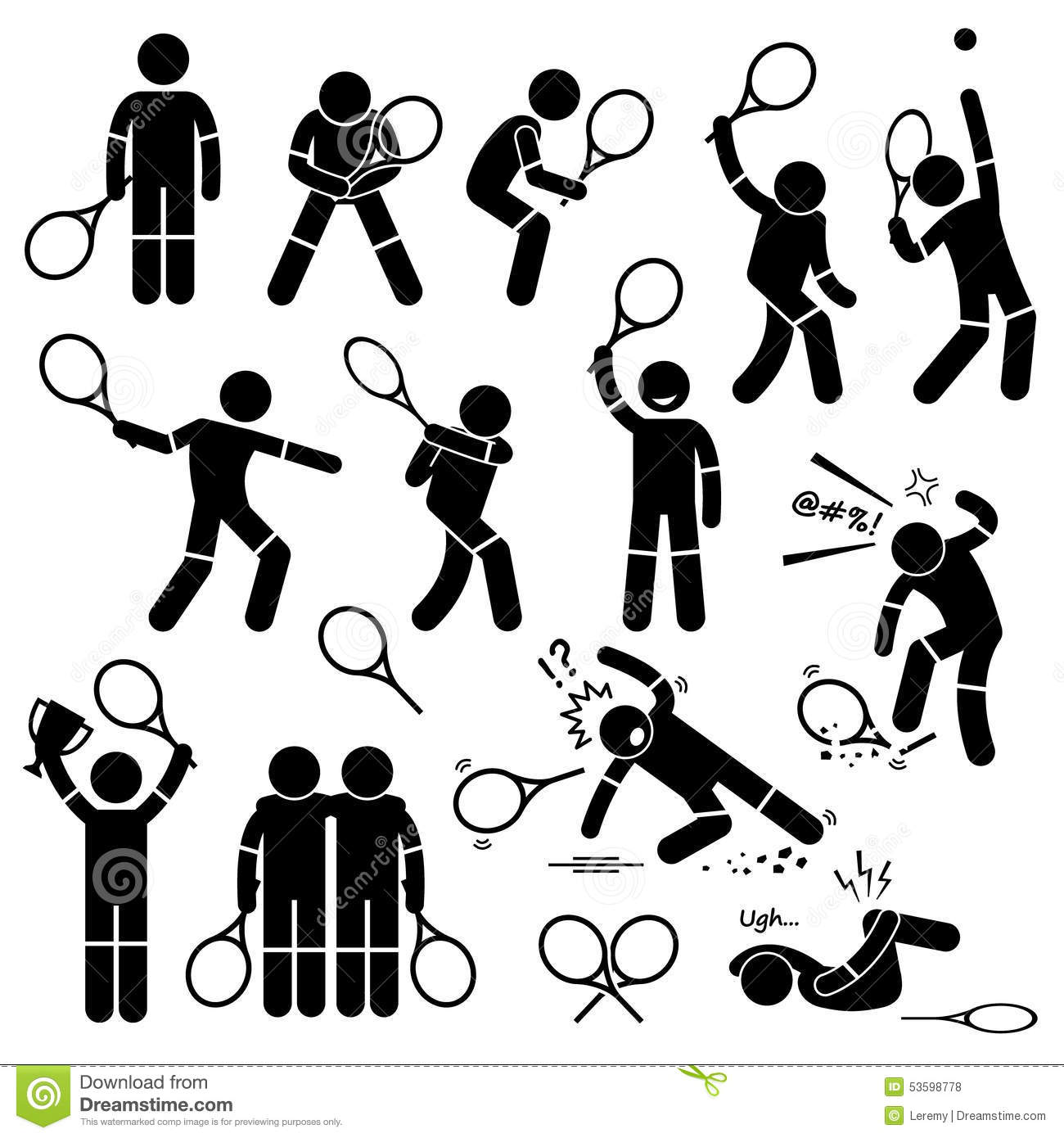 Tennis Player Actions Poses Postures Cliparts Stock Vector